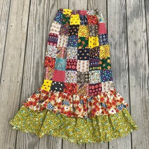 Amazing vintage 70's patchwork TURTLE maxi skirt